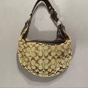 Coach signature hobo bag canvas w/leather